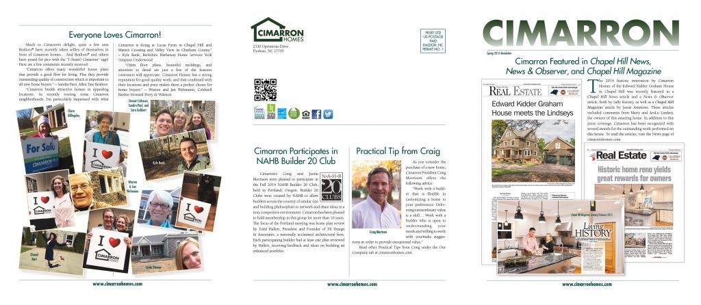 Cimarron Homes Newsletter 2015, outside