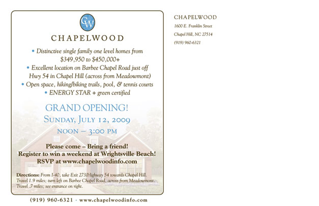 Chapelwood Postcard Back