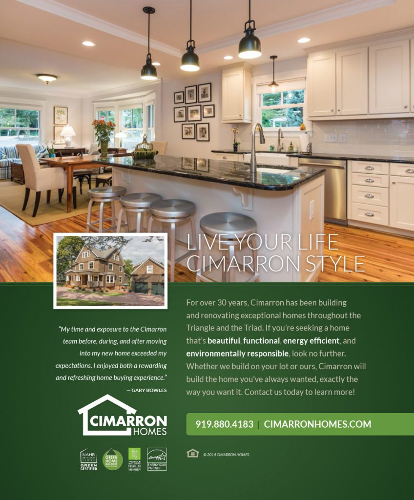 Cimarron Homes Chapel Hill Magazine Ad