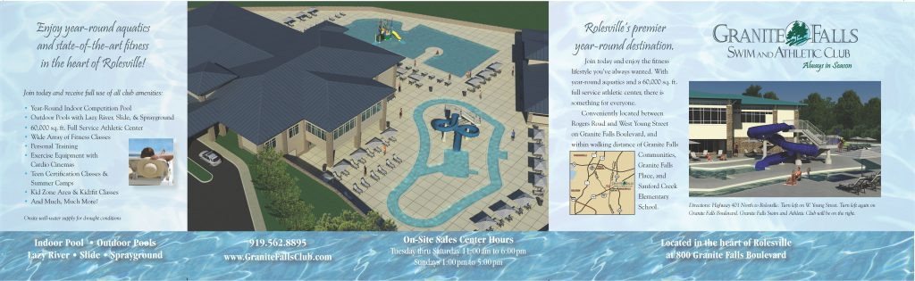 Granite Falls Swim and Athletic Club Tri-fold Mailer, Center Panel