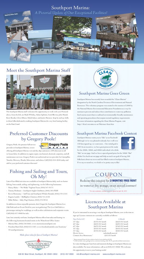 Southport Marina Newsletter Center Panel