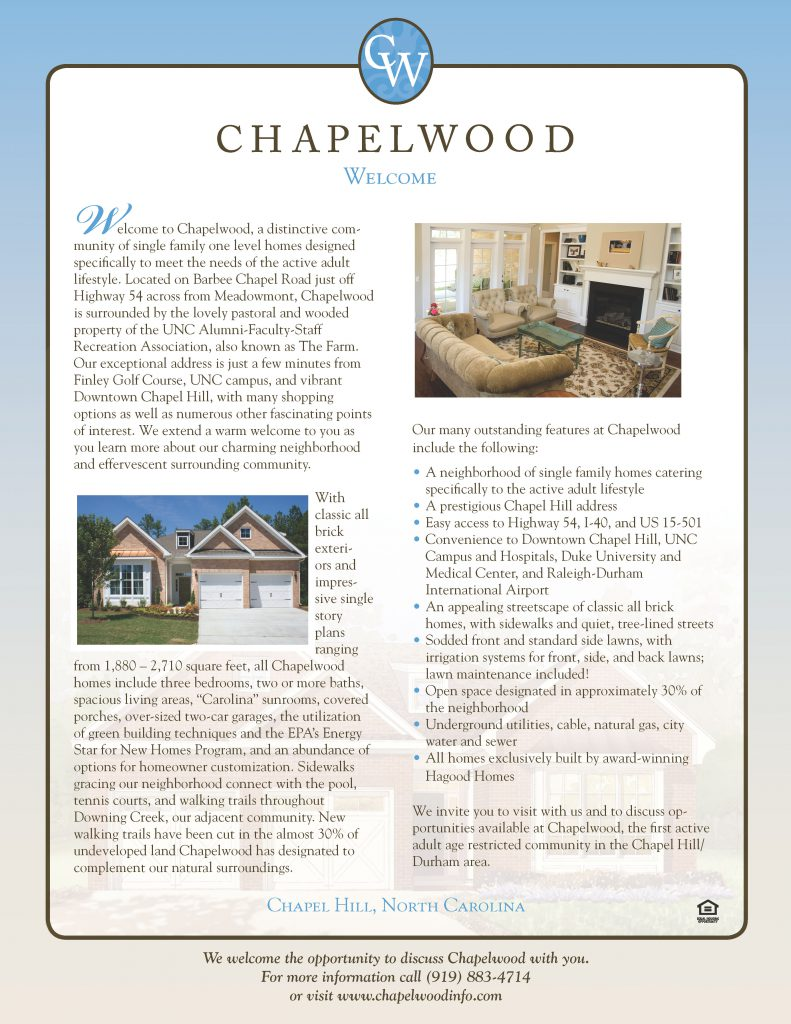Chapelwood Welcome Brochure Insert