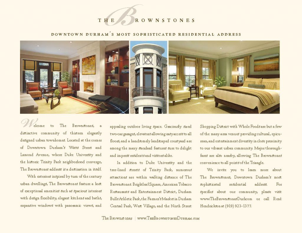 The Brownstones Welcome Brochure Insert