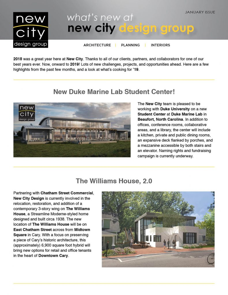 New City Design Group Newsletter (page 1)