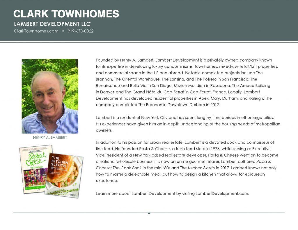 Clark Townhomes Brochure, insert